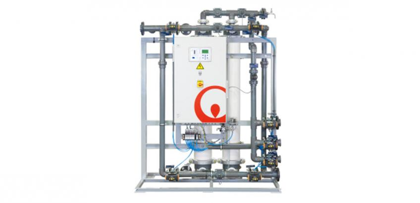 Skid-mounted ultrafiltration system for water reuse and process water applications.